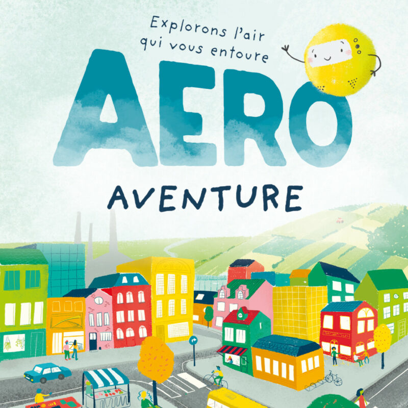 Illustration colorée pour une affiche sur la qualité de l'air